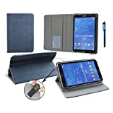 "Emartbuy® Alcatel POP 8S 8"" Inch Tablet Universal ( 7 - 8 Inch ) Dark Blue Premium PU Leather Multi Angle Executive Folio Wallet Case Cover Grey Interior With Card Slots + Blue Stylus"