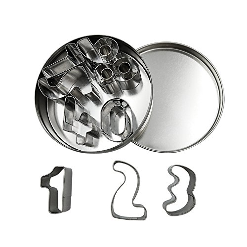 Homy Feel Number Cookie Biscuit Cutter Set 9 Circle Pastry Donut Cutter Set Number Cookie Cutters Circle Baking Metal Ring Molds (Metal Number Cookie Cutters)