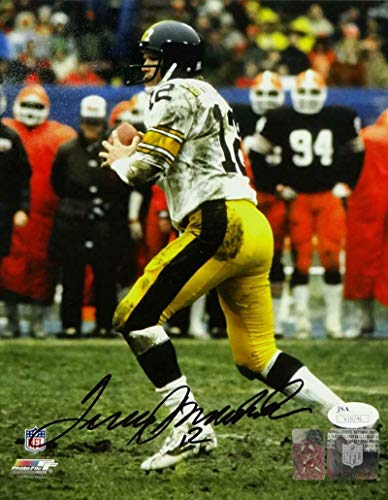 (Autographed Bradshaw Photograph - 8x10 Looking To Pass PF Auth - JSA Certified - Autographed NFL Photos)