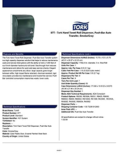 Amazon.com: Tork 87T Hand Towel Roll Dispenser, Push Bar, Auto Transfer, Plastic Door w/Steel Back, 15.75