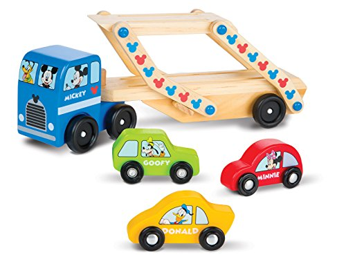 Melissa & Doug Mickey Mouse Clubhouse Car Carrier Truck and Cars Wooden Toy Set With 1 Truck and 3 Cars (Melissa And Doug Car Carrier)