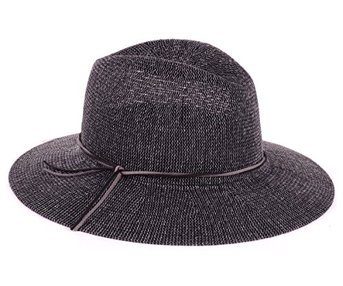 BYOS Fashion Boho Summer Straw Panama Fedora Sun Hat Wide Brim, Various Styles (Faux Suede Double Skinny Band Tie-Black) (Suede Hat Straw)