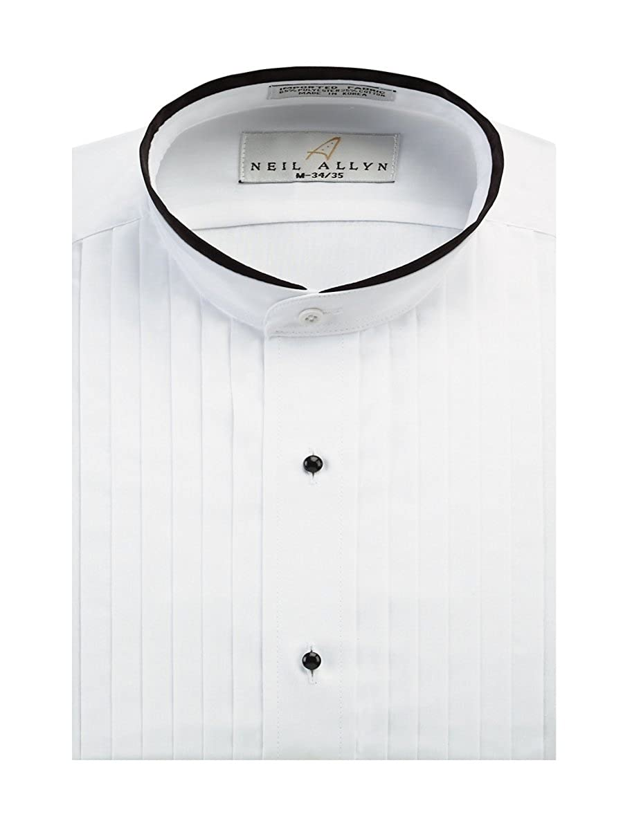 Neil Allyn Men's Banded Collar 1/2 Pleats Tuxedo Shirt with Black Piping