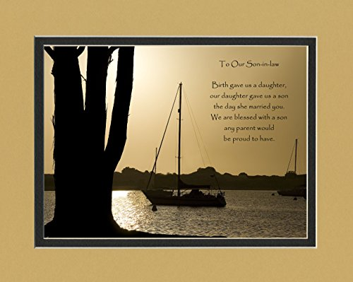 Son-in-Law Gift with Son-in-Law Poem for Wedding, Welcome to the Family, Christmas or Birthday Gifts for Son-in-law, Boats at Dusk Photo, 8x10 Double Matted. (Christmas Poem For Daughter And Son In Law)