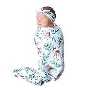 Christmas Newborn Unisex Baby Elk Sleep Gown Swaddle Sleeping Bags Blankets Nightgown Headband (White, 6-12 Months)