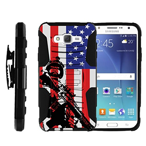 TurtleArmor | Compatible with Samsung Galaxy J7 Case | J700 (2015) [Hyper Shock] Rugged Hybrid Hard Shell Kickstand Fitted Holster Clip Military War Robot Android Design - American Soldier
