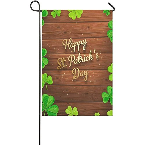St. Patrick's Day with Wood Garden Flag Banner 12 x 18 inch,