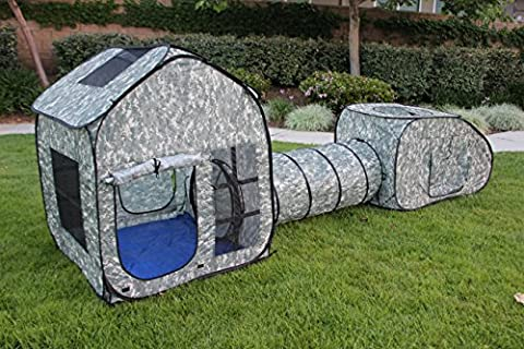 G3Elite Kids Camo Play Tent, Childs 3 Piece Pop Up Indoor/Outdoor Foldable Fun Set, Childrens 3 In 1 - Base, Tunnel And Vehicle - With Carry/Storage Bag (1 Year (Military Fort)