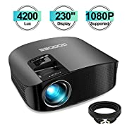 """#LightningDeal Projector, GooDee Upgrade HD Video Projector 4200L Outdoor Movie Projector, 230"""" Home Theater Projector Support 1080P, Compatible with Fire TV Stick, PS4, HDMI, VGA, AV and USB"""