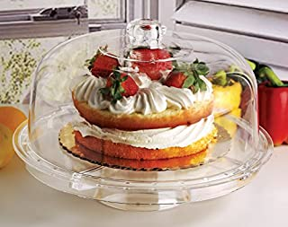 """Circleware 10041 Acrylic Multi-Functional Glass Cake Stand Plate with Dome Home & Kitchen Entertainment Serveware for Fruit, Ice Cream, Dessert, Salad, Cheese, Candy, Food Serving Platter, 12"""", Clear (B075QDB4GM)   Amazon price tracker / tracking, Amazon price history charts, Amazon price watches, Amazon price drop alerts"""