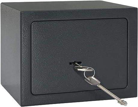 vidaXL Caja Fuerte Mecánica Depósito Baúl Arcón Seguridad Protección Llaves Emergencia Código Clave Estante Acero Gris Oscuro 23x17x17 cm: Amazon.es: Bricolaje y herramientas