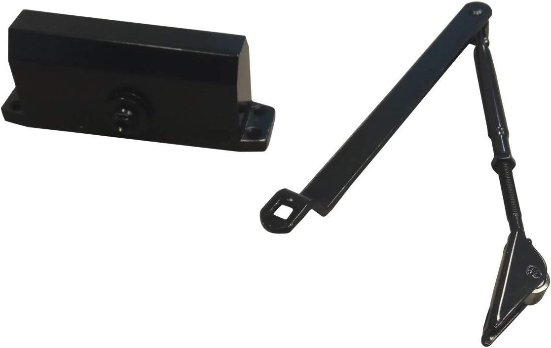 Negro Cierrapuertas Hidr/áulico Autom/ático Ajustable PALMAT con Brazo Gu/ía Deslizante y Cubierta de Hierro para Trabajo Pesado