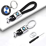 YOJOHUA 3Pack Handmade Braided Genuine Leather Car Logo Keychain for BMW, Key Chain Accessories Zinc Ally Buckle Keyring with Logo for Man and Woman