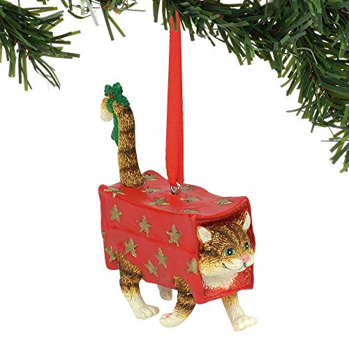 (Department 56 Gary Patterson Walking Present Cat Christmas Hanging Ornament, 3.375