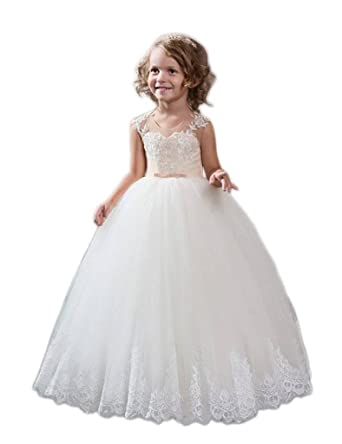 78ca3832e6 Amazon.com  hengyud 2017 Champagne Flower Girls Dresses for Wedding Toddler  Pageant Dress for Teens 38  Clothing