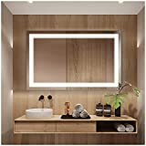 Keonjinn 30''x18'' Bathroom Mirror Anti-Fog Wall Mounted Makeup Mirror with LED Light Over Vanity (Horizontal/Vertical)
