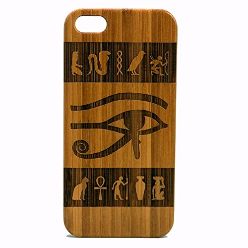 7 Case/Cover by iMakeTheCase | Wedjat Falcon God. Egyptian Hieroglyph Spiritual Symbol Ankh | Bamboo Wood Cover. (Wedjat Eyes)
