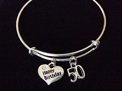 Happy 50th Birthday Expandable Charm Bracelets Adjustable Bangle 50 Gift