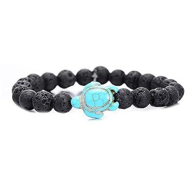 83a7823499 Neovivi Summer Style Sea Turtle Beads Bracelets for Women Men Classic 9MM Blue  Natural Stone Elastic