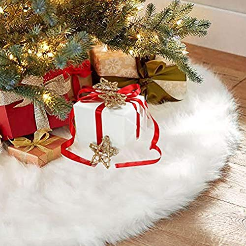 AuLink Christmas Tree Skirts, 36Inch Faux Fur White Tree Skirts for Xmas New Year Party Holiday Home ()