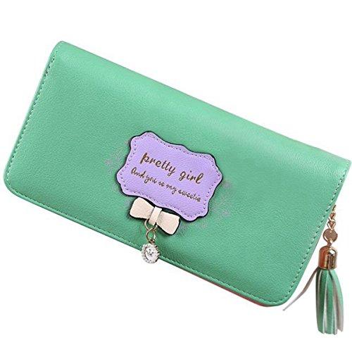 Women Bowknot Long Purse Button Wallet Clutch Hand Bag (Green) - 5