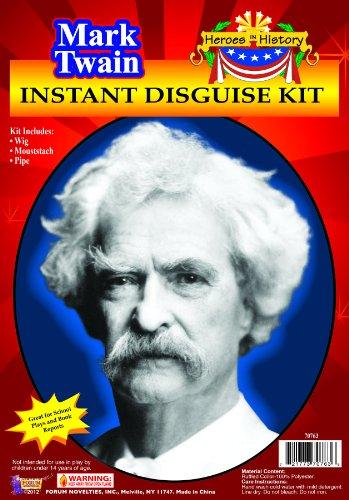 Forum Novelties Men's Heroes In History Instant Disguise Kit Mark Twain, Multi, One Size