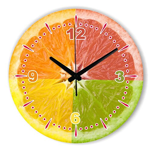 Biscount Living Room Kitchen Clock Withe Waterproof Clock Face The Fruits Wall Decoration Clock For Dining Hall Fashion Home Decoration Wall Clock 12 Inch