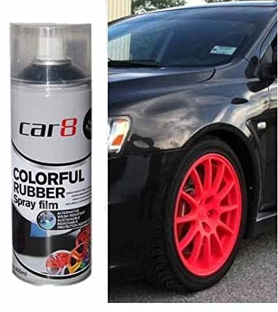 Car8 Fluorescent Red Plasti Paint 400ml Spray Can Rubber Coating