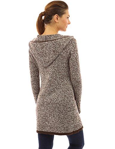 PattyBoutik Mujer recortar con capucha chaqueta de punto de hilo marled café y blanco