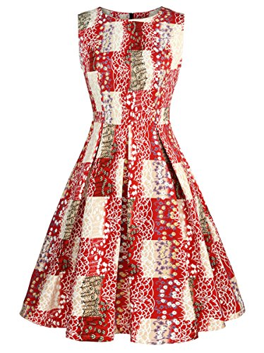 Luoqi Clothing Women 50s Vintage Floral Sleeveless A-Line Swing Pleated Midi Tea Dress