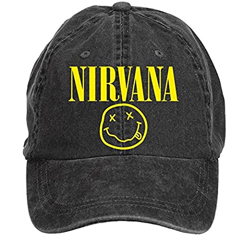 NDWOIJ Mens Nirvana Smiley Face Logo Flat Cap Black - Smiley Black Cap