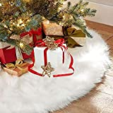 Christmas Tree Skirts, Au-Link 36Inch Faux Fur White Tree Skirts for Xmas Year Party Holiday Home Decorations