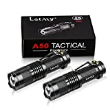 Tactical Flashlight [2 PACK] - Zoomable, 3 Modes, Water Resistant LED Torch - Best Flashlights for Gift, Camping, Hiking, Outdoor by Letmy