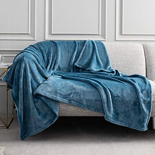 Wemore Fleece Blanket Throw, Super Soft Cozy Flannel Blanket, Microfiber Luxury and Lightweight All Season Fleece Throw Blanket for Bed, Couch, 60 x 80 Inches, Slate Blue