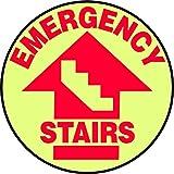 Accuform MFS763 Slip-Gard Adhesive Vinyl Floor Sign, Legend  quot;EMERGENCY Stairs quot;, 17 quot; D