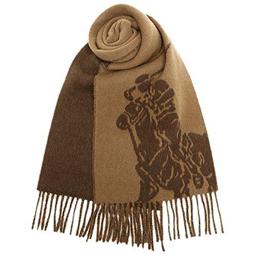 Polo Ralph Lauren Men's Wool Blend Offset Big Pony Reversible Rectangle Scarf Rye Brown ()