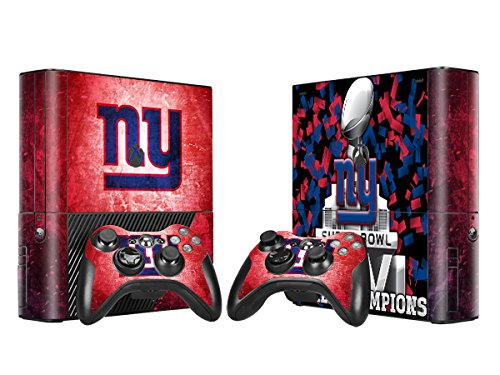 New York Giants Sticker Skin Set for Microsoft Xbox 360E Console+Controllers