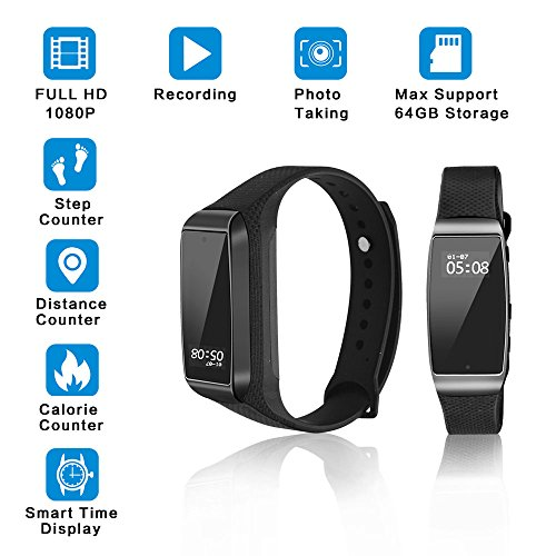 Smart Bracelet Hidden Spy Camera , Youlanda Surveillance Recording Camera 1080P HD Videoing Support 64 GB Storage Wristband With Steps Calorie Counter, Smart Time Display For iOS&Android