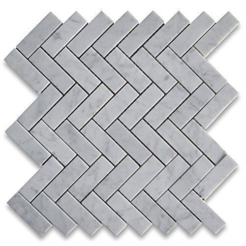 Carrara White Italian Carrera Marble Herringbone Mosaic Tile 1 x 3 Honed by Stone Center - Carreras Italian