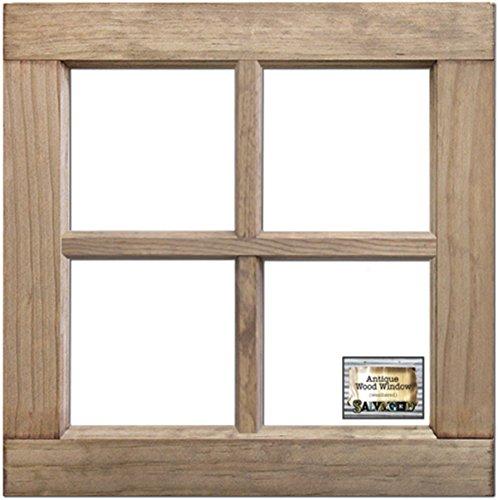(BCI Crafts WIN16X16WW Salvaged 4-Pane Wood Window Frame-Weathered Wood 16