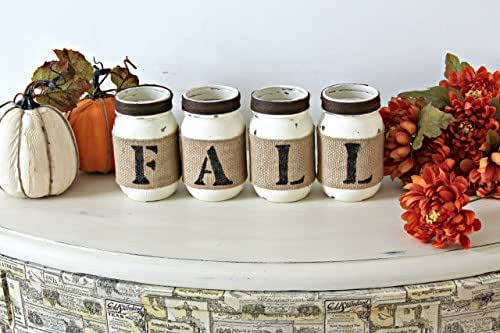 Rustic Fall Table Decor in Old White and Dark Brown,Autumn Table or Fireplace Decoration, Farmhouse Home Decor