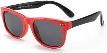 FOURCHEN Kids Polarized Sunglasses Rubber Flexible Shades for Girls Boys,Kids Sunglasses Retro Oval