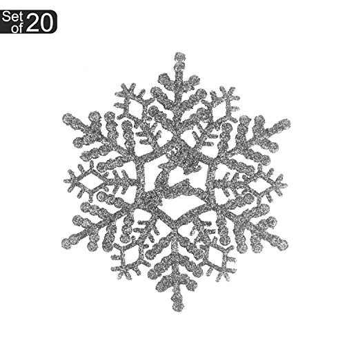 KI Store 20ct Christmas Silver Snowflake Decoration Ornaments Glitter Decorative Hanging Ornaments for Christmas Décor Trees Window (Silver, 4.3-Inch)