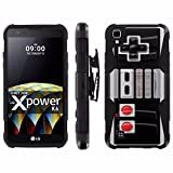 Cheap LG X Power [K210 K450 K6 K6P K220 US610] Armor Case [Mobiflare] [Black/Black] Blitz Armor Phone Case [Holster] Screen Protector – [NES Video Game Controller] for LG X Power