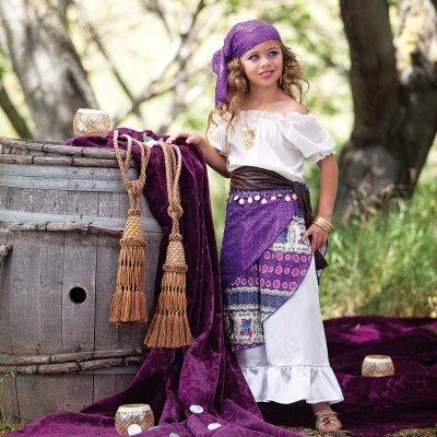 Palamon Costumes Gypsy Costume - Medium - Medium White/Purple