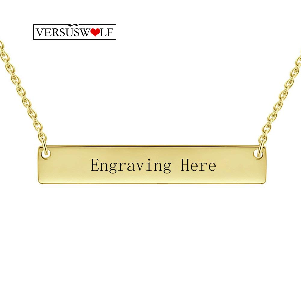 VERSUSWOLF Personalized Custom Name NecklacesName Plate 925 Sterling Silver Necklace