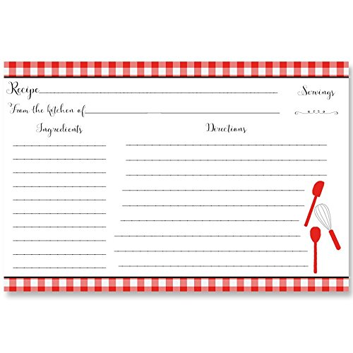 Recipe Cards, Gingham, Red, Retro, Vintage, Bridal Shower, Wedding, Housewarming, Gift, Double Sided, with Lines, Size, 4 x 6, 24 Printed Cards, Red Gingham