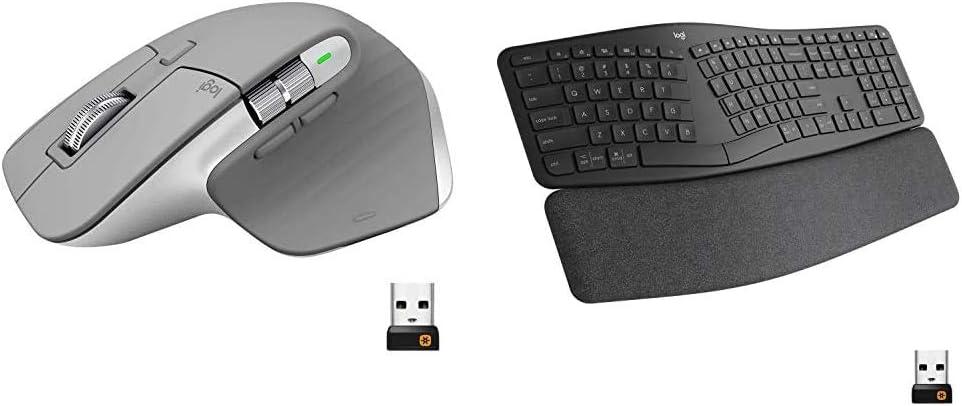 Logitech MX Master 3 Advanced Wireless Mouse - Mid Grey & Ergo K860 Wireless Ergonomic Keyboard with Wrist Rest - Split Keyboard Layout for Windows/Mac, Bluetooth or USB Connectivity