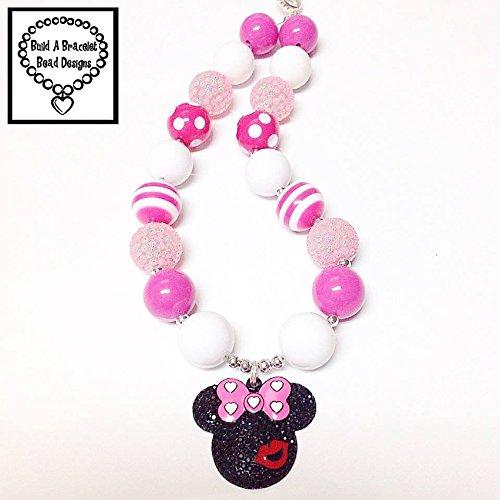 (Toddler, Girls, Baby Bubblegum Chunky Minnie Kiss Necklace Hot Pink Striped Polka Dot Pink Rhinestone Jewelry Accessory By BuildABraceletBeadDesigns)