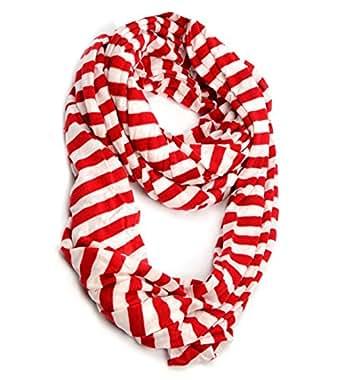 Huan Xun Super Soft Striped Jersey Infinity Loop Scarf Chirstmas Gift